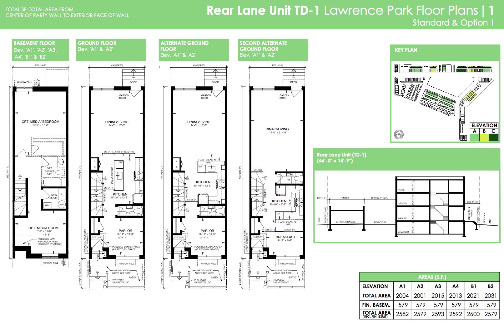Rear Lane TD-1 Lawrence Park Floor Plan