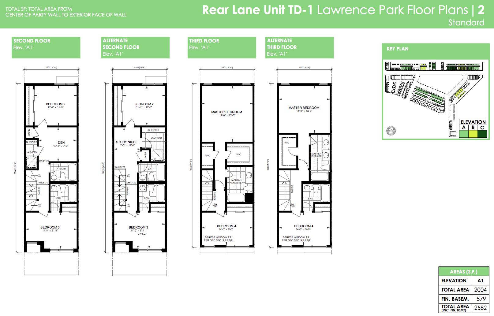 Rear Lane Unit TD-1 Lawrence Park Floor Plans 2 Standard