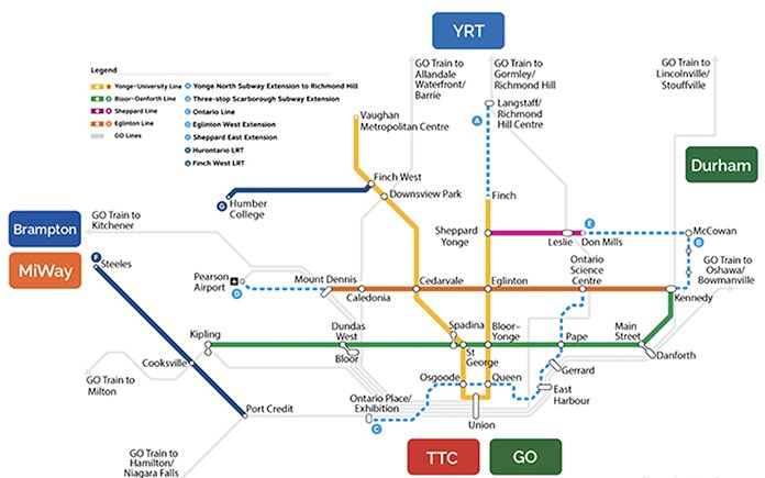 Map of Ontario government's vision for transit in Toronto and area