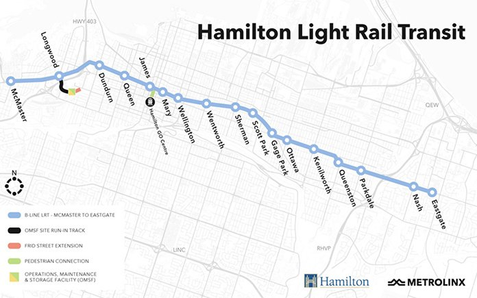 Map of Proposed Hamilton LRT