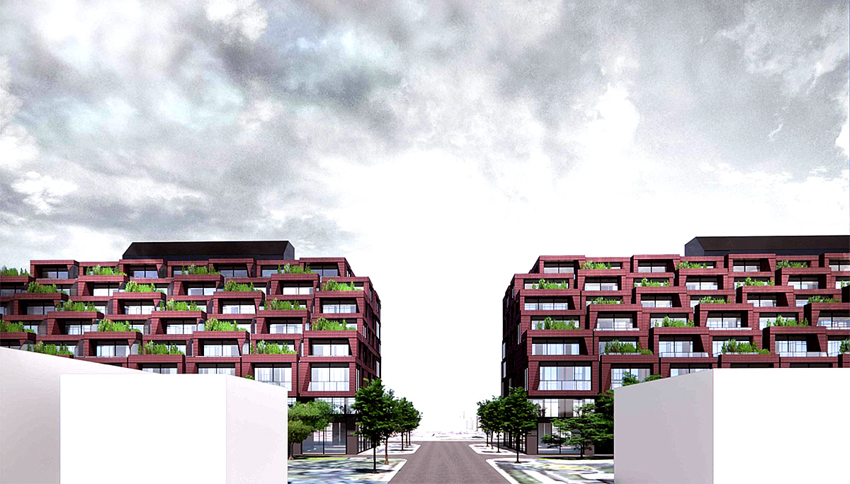Two identical mid-rise condominiums in the Leaside neighbourhood