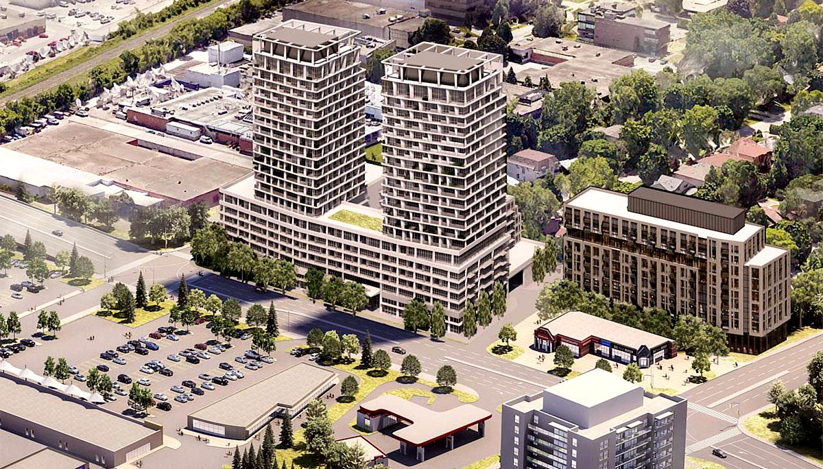 This development contains two 21-storey residential towers