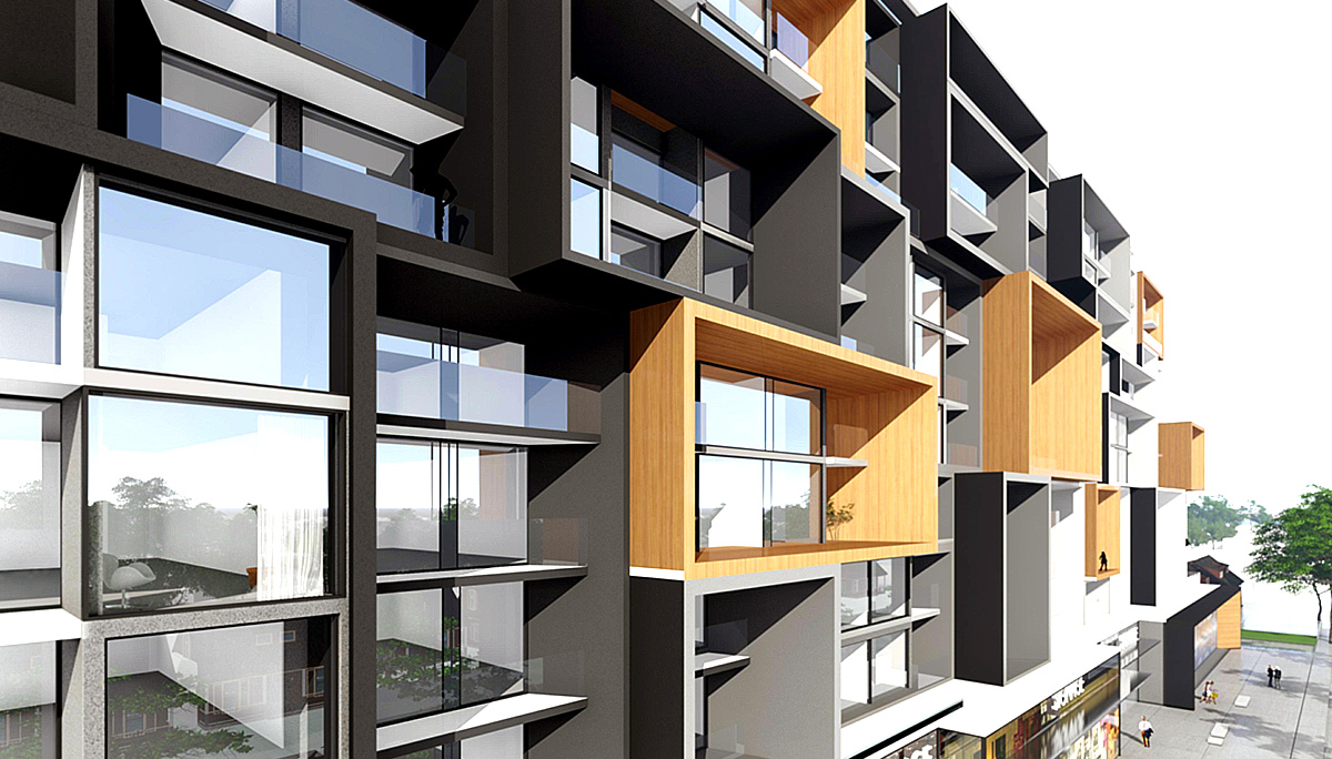 877 living units that are spread out over 22,848 square metres