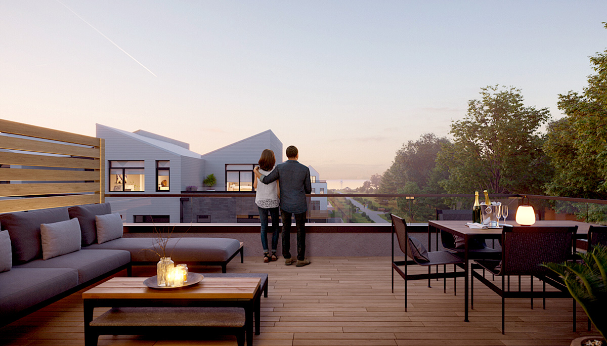 Access to private deck from ground floor and rooftop terrace on third floor