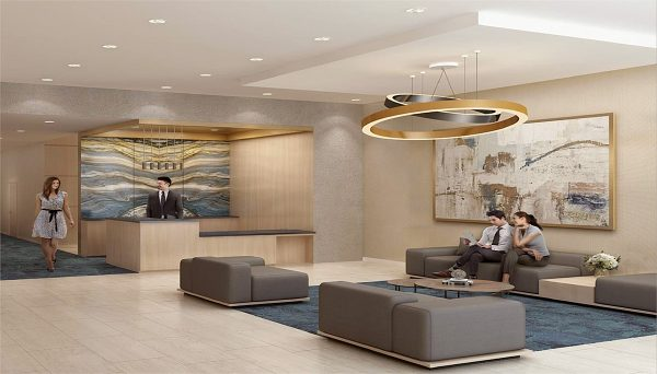A bright and welcoming lounge and lobby with a 24-hour concierge
