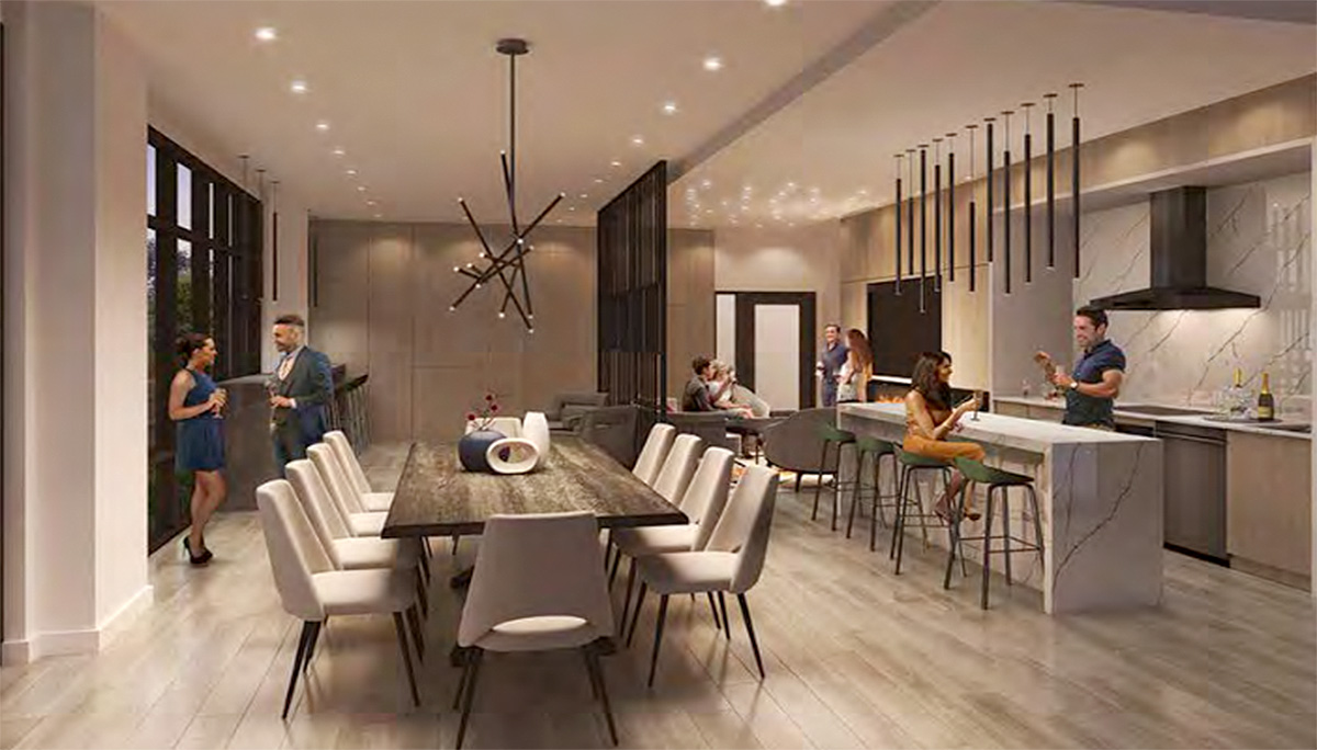 New Condominium Project with An elegantly designed party roomwith bar seating and lounge area