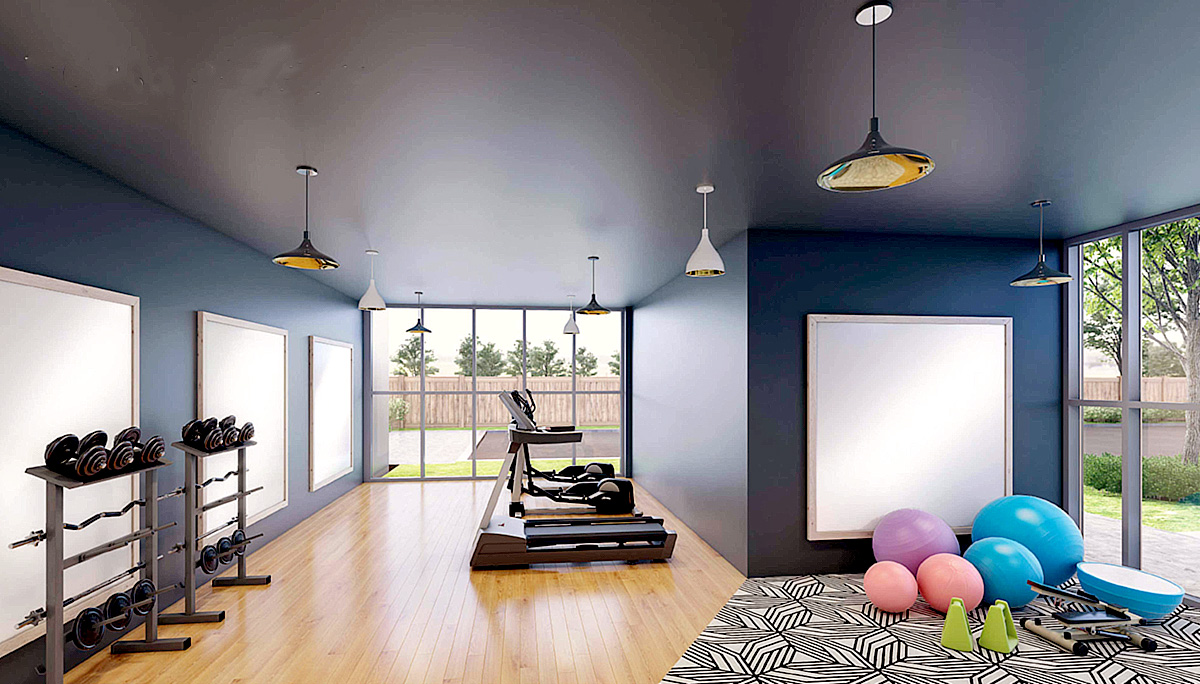 Fully equipped fitness centre with a yoga room