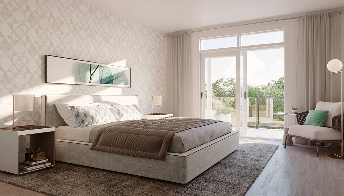 Large and Bright Master Bedroom with Oversized Windows