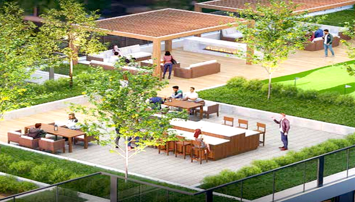 Large outdoor terrace on the top of the sixth floor podium with BBQ stations and lounging areas.party room and a large outdoor terrace on the top of the sixth floor podium with BBQ stations and lounging areas.