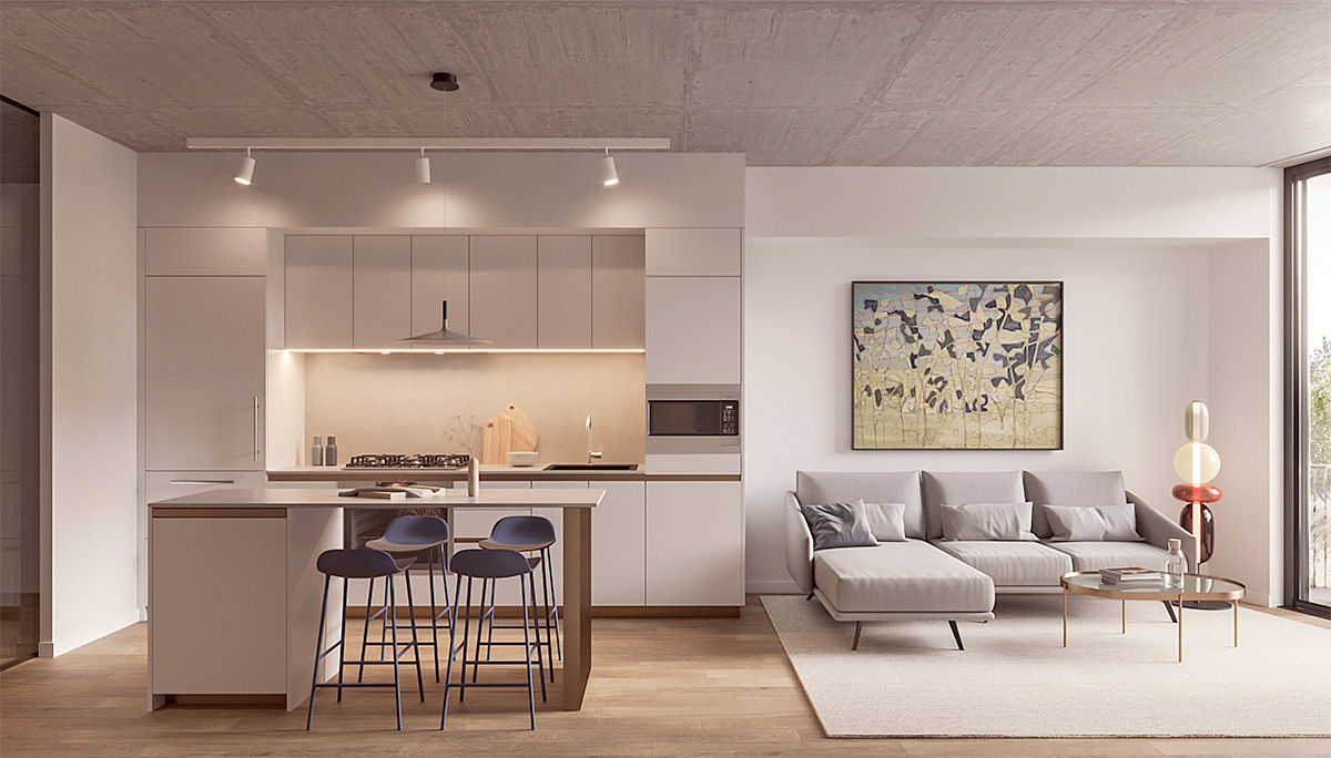 New pre-construction condominium with 123 residential units ranging from one to three bedrooms
