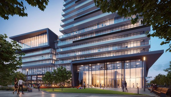 A sleek, glittering high-rise with modern sculptural elements, courtesy of CORE Architects