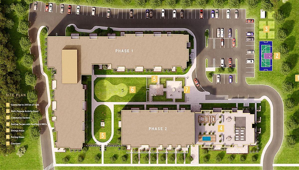 A new mixed-use mid-rise condominium development in Oakville