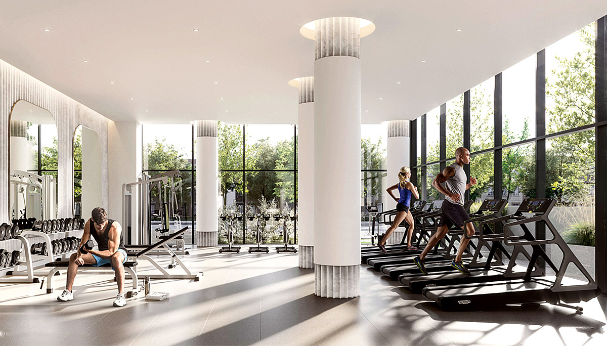 A fitness centre with state-of-the-art equipment and a restful yoga studio
