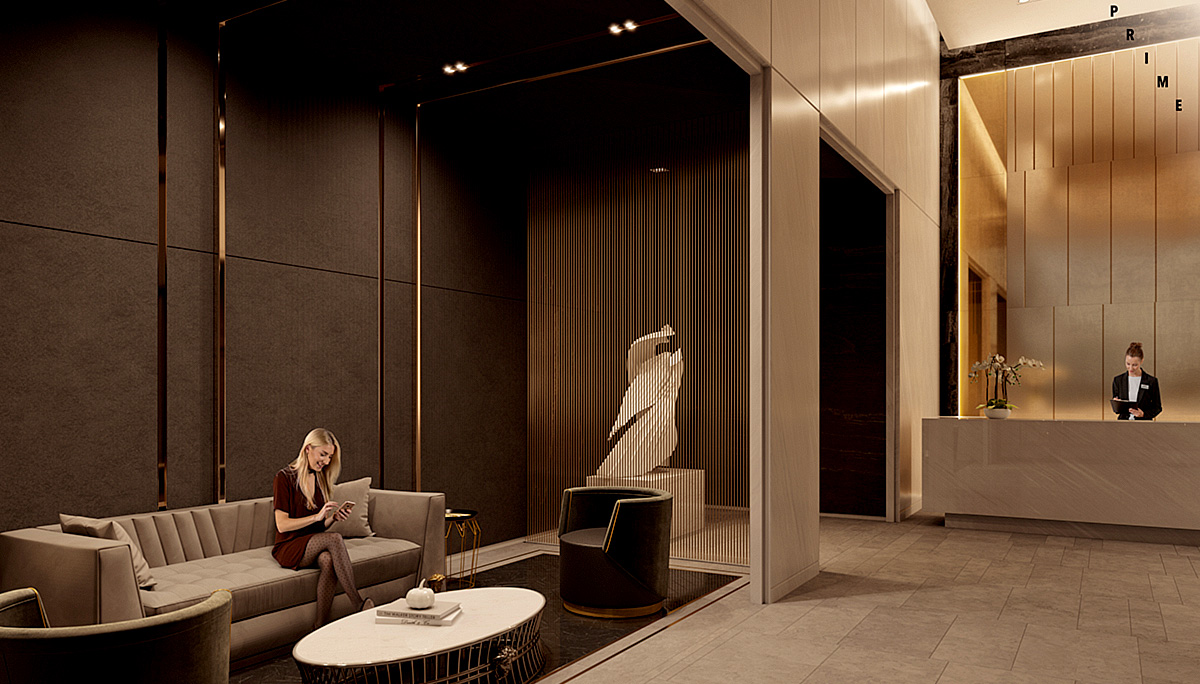 The main residential lobby will be furnished by the Italian luxury brand, Versace