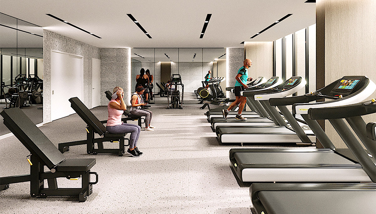 Gym equipped with cardio equipment and a weight room and yoga room