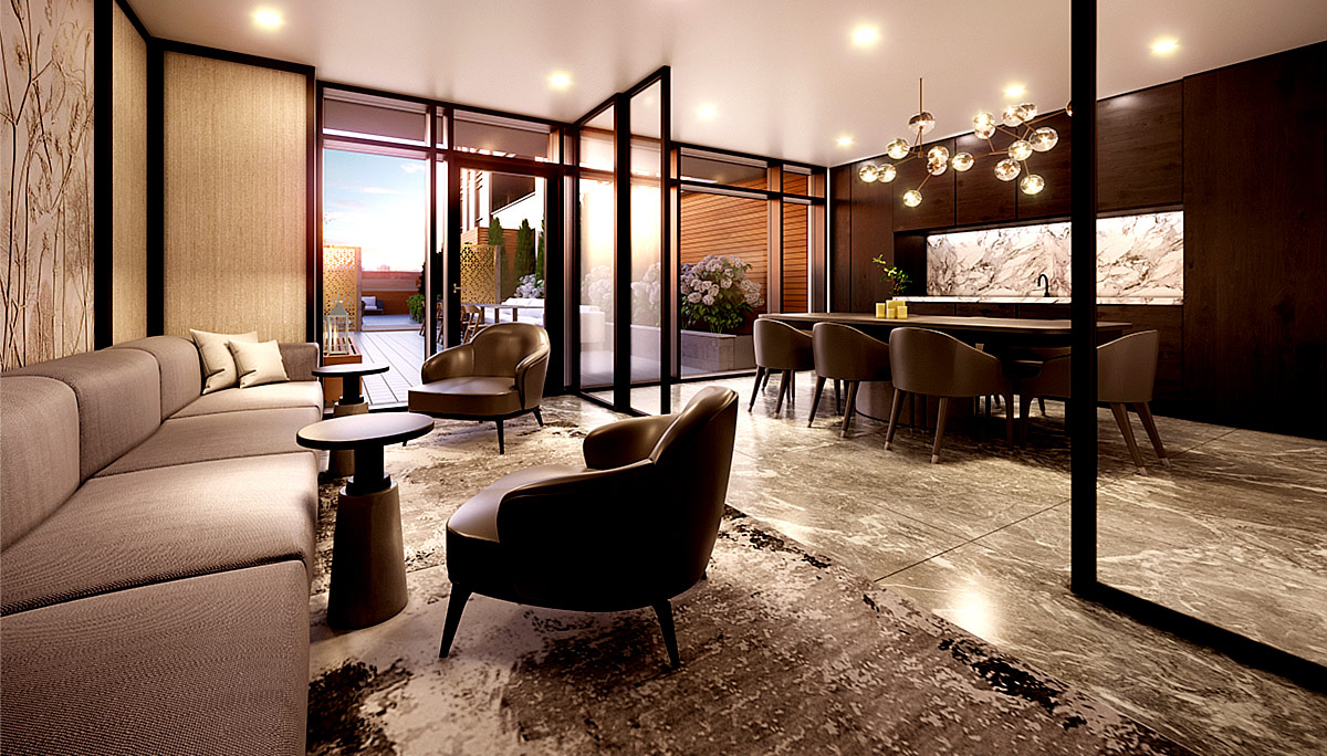 Amenity highlights are library, lounge, gym, party room, outdoor dining room, terrace with lounge and fire pit and multipurpose lawn.