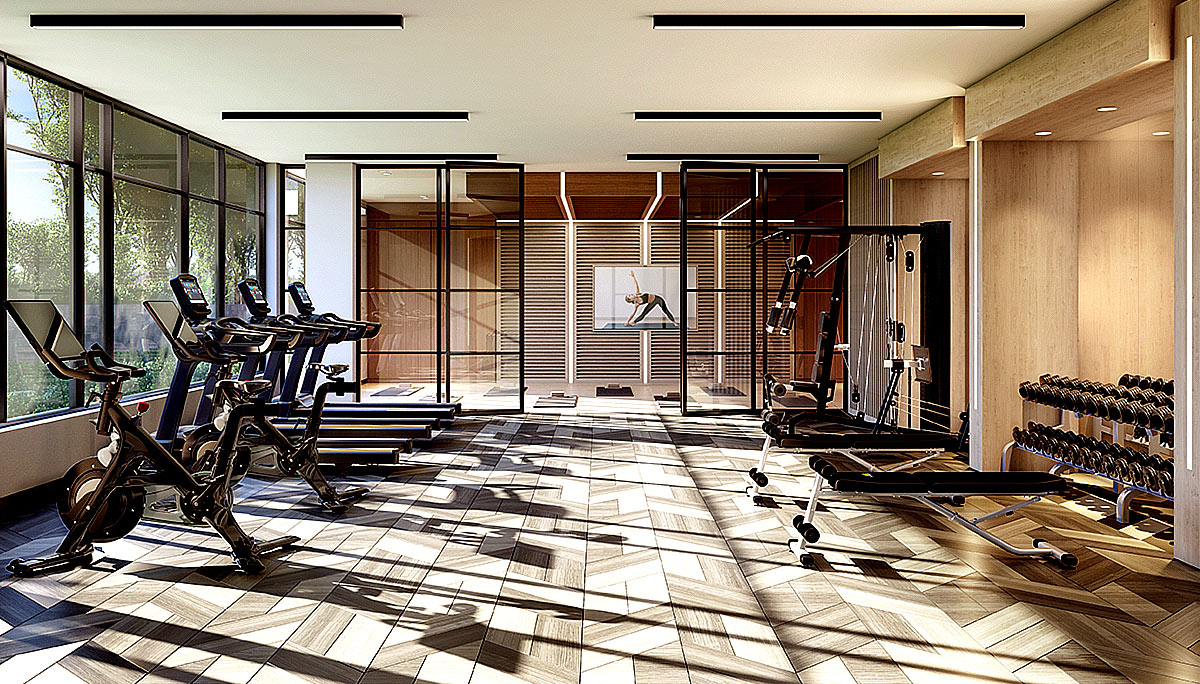 Fitness studio with cardio and weights areas