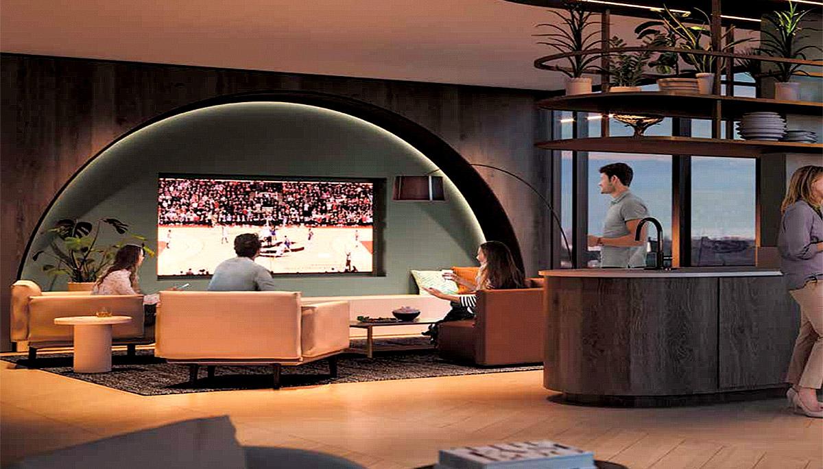 Modern Design Condominium Building with Generous-Sized Balconies and Large Windows