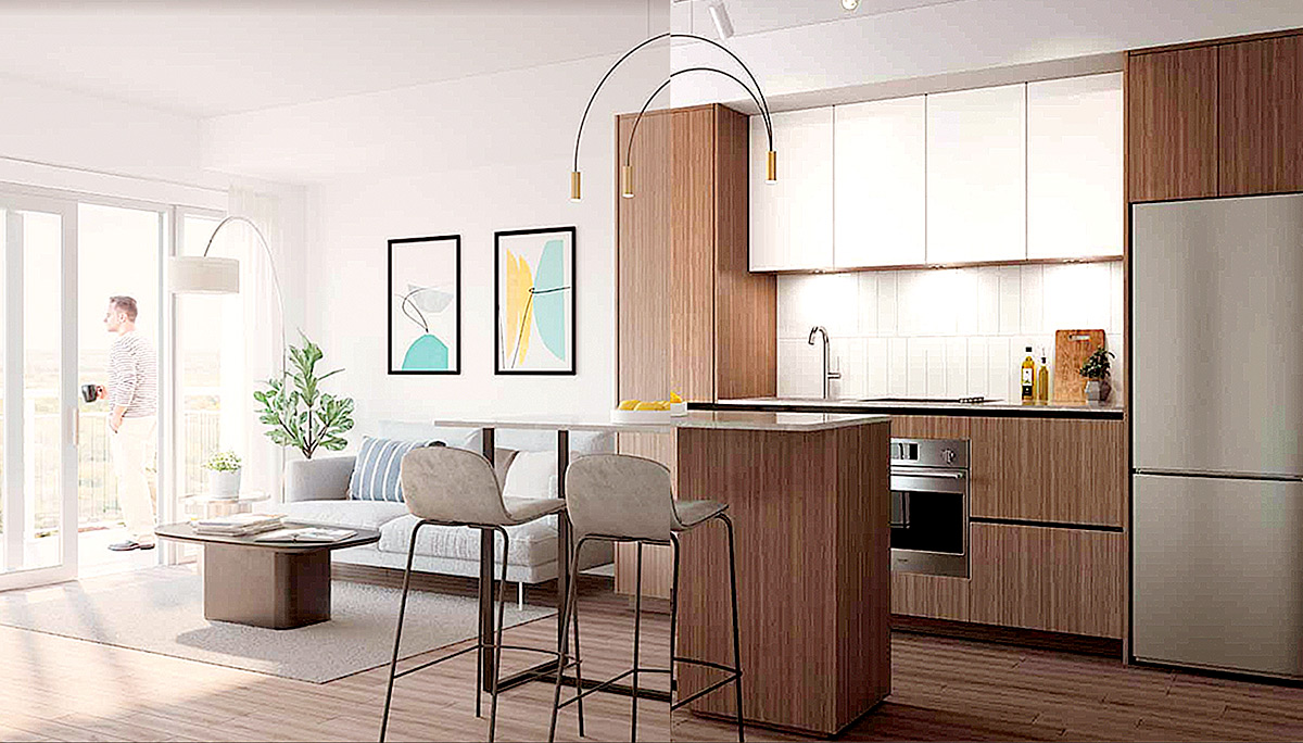 The collection of Studios, 1 bedroom to 3 bedrooms will range in size from 475 to 1,488 square-feet