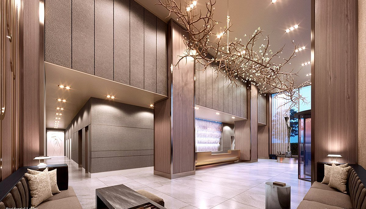 An exclusive entrance for residences on 88 Centre Street by a hotel-inspired luxury lobby equipped with 24/7 concierge