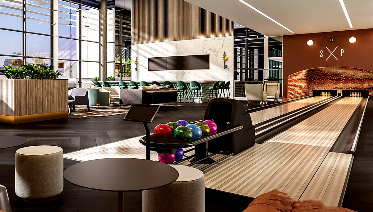 Bowling lanes, Wellness and fitness studio